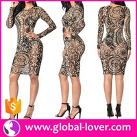 Long Sleeve Bodycon Totem Printed Transparent Sexy Mature Ladies Dresses