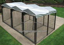 Wire tube welded black color coated dog enclosure Movable Triple dog kennel with roof