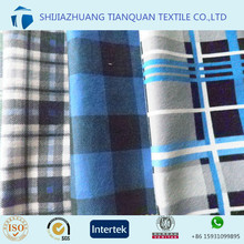2016 fashion design blue/black plaid cotton flannel fabric for shirts to UK market