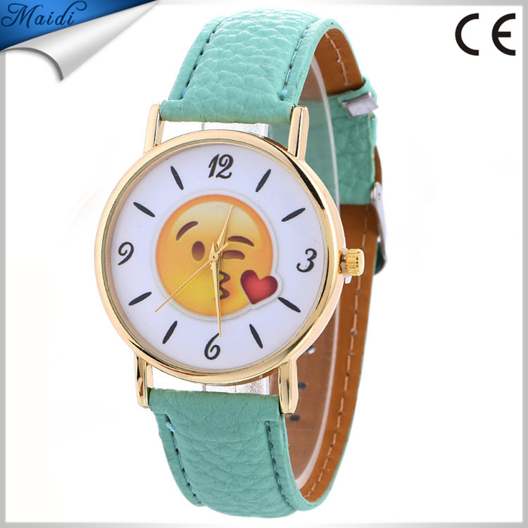 Brand Cartoon Gold Smile Face Quartz Watch Children Casual Leather Strap Dress Watches Relogio Christmas Gifts GW052