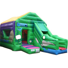 Jungle Zoo inflatable bouncer jumper/ jumping bouncy castle/ bounce house moon walker moonwalk trampoline slide combo
