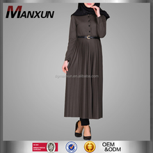 Wholesale 2017 Hotsale Muslim Top Long Sleeve With Belt Islamic Clothes Elegant Indonesia Kaftan Fashion Style Malaysia Abaya