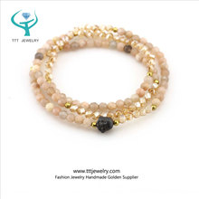 Stone Crystal Gold Plated Beads Charm Triple Layer Multi Strand Stand Wrap Bracelet Necklace