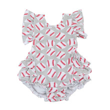 2017 carters baby clothes baby girl romper football print ruffle romper baby wear