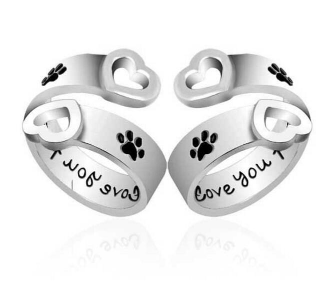 Dog's paw Hollow Heart I will love you forever Ring