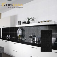 Black tile glitter, black and white kitchen tile
