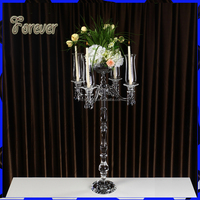 Hot selling Tall Church Candle Holder with Flower bowl and Hurricane Lamps For Wedding Table Decoration