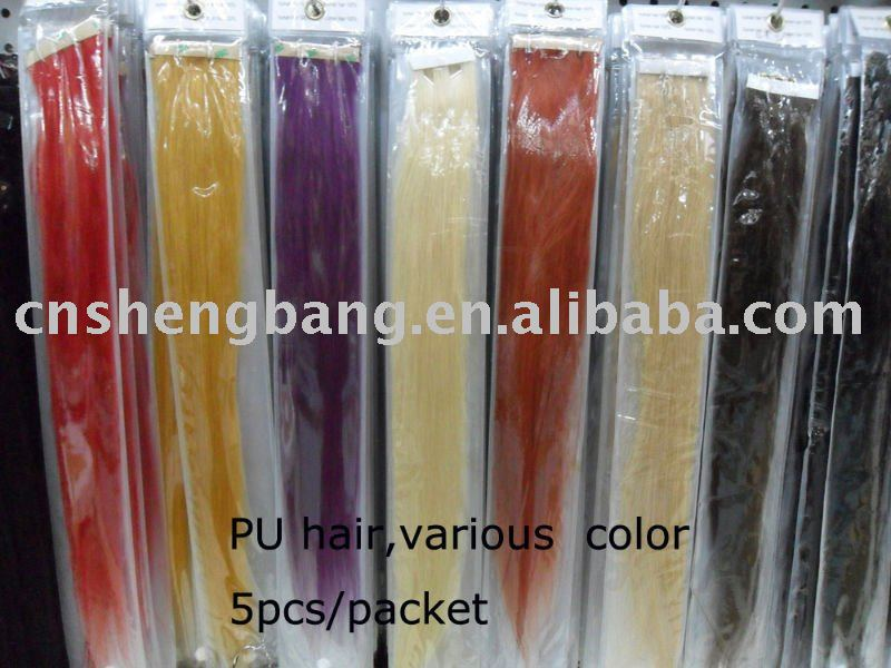 PU skin hair in stock for various color skin hair weave