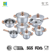 12pcs stainless steel copper Cookware