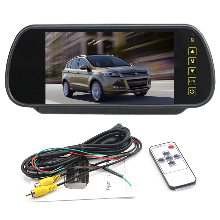 High quality 2AV input lcd car monitor 7 inch rear view mirror monitor