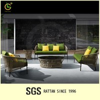 Plastic Popular Style Outdoor Restaurant Sofa Set Rattan Lowes Wicker Patio Furniture RW06-3001/3011/3012