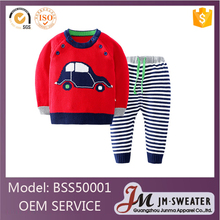 High-end red fashion design 100% cotton knitted baby boys sport clothing sets