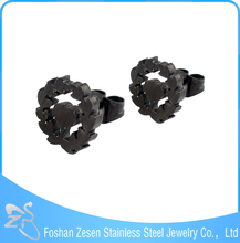 ZS20082 black anodized stainless steel wholesale studs and boys earrings for boys