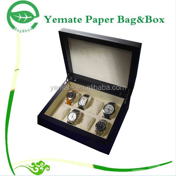high quality creative fashion luxury handmade printed decorative matte or gloss laminated cardboard box with 8 slot for watch