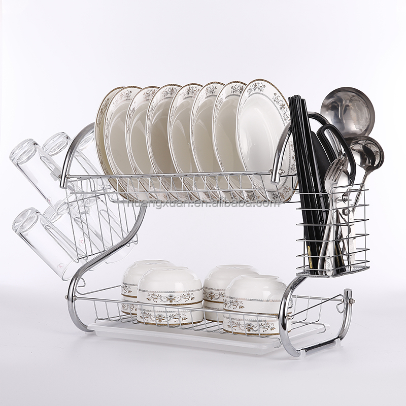 chrome plated dish rack metal wire dish drying rack with cheap price