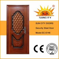 SC-S146 China Factory Main Safety Door Design with Grill, Alibaba Stainless Steel Safety Door Price