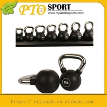 China Wholesale Rubber Coated Iron Kettlebell With Chromed Handle