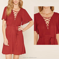 latest fashion ladies 100% viscose short sleeve lace-up backless sexy red casual dress for women wear