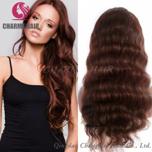 Hot Sale Natural Brown Color Virgin Brazilian Hair Full Lace Human Hair Wig