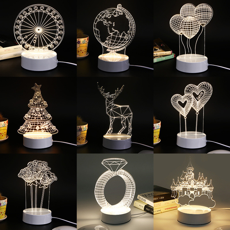 3d colorful led romantic creative desk bedroom eiffel for 3d decoration for birthday
