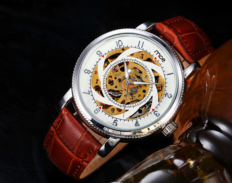 Create your own brand skeleton automatic mechanical waterproof watch