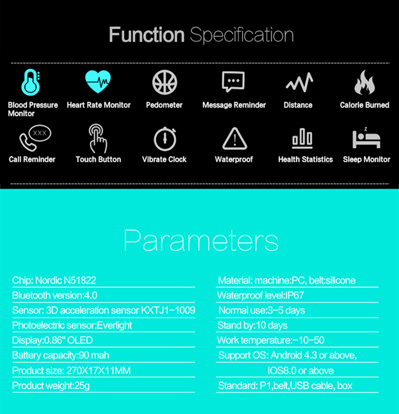 New P1 Smart Bracelet Blood Pressure Heart Rate Sleep Monitor Waterproof Swim Pedometer Call Reminder Smart Band for Android iOS
