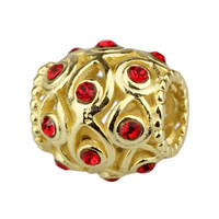 Wholesale Red Crystal Gold-plate Phoenix Tail Bead 925 Sterling Silver Charm Jewelry for European Bracelet