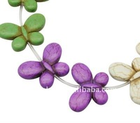 Natural Howlite Beads, Dyed, Butterfly, Multicolor, about 35x26x6.5mm, hole: 1.5mm, about 14pcs/strand(G-A014-1)