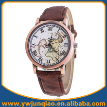Hot Selling Leather Wrist Watch Fashion World Map Watch