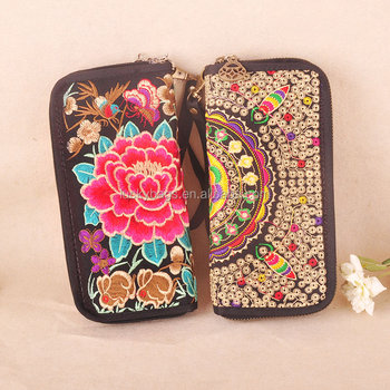 Ethnic embroidery shopping wallets clutch bag for lady