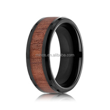 wholesale jewelry fashion 8mm inlay koa wood bevel tungsten wedding ring, tungsten rings