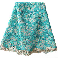 Fancy Design beaded lace motifs / guipure lace fabrics / nigerian fabrics lace For Family