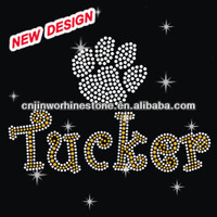 Beautiful rhinestone applique trim cystal paw print D 2 (56)
