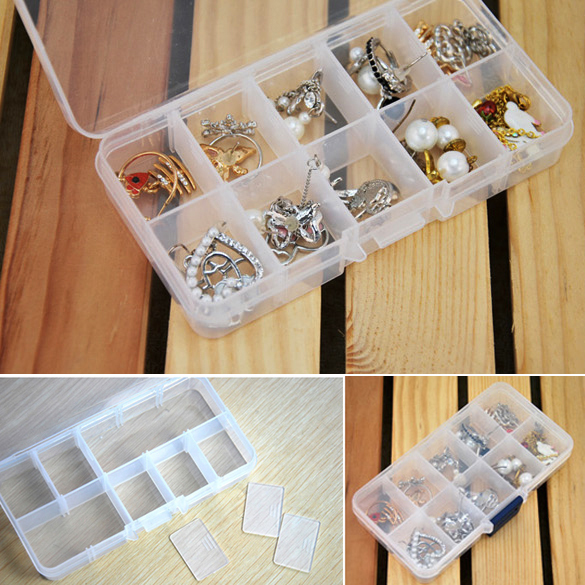 New Practical Adjustable Plastic 10 Compartment Storage Box Case Bead Rings Jewelry Display Organizer (Hasp Random Color)