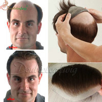 Hot sale customized 100% human hair super thin skin PU toupee best quality men toupee