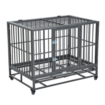 "36"" Heavy Duty Steel Dog Crate Kennel Pet Cage w/ Wheels - Grey Vein"
