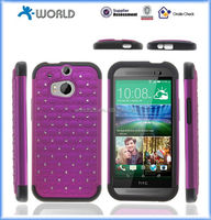 2 in 1 Hard Cover & Silicone Bling Diamond Case for HTC M8 ONE2