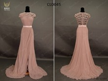 2015 Evening Gowns Real Sample Wholesale Cap Sleeves Side Slit Beaded Chiffon Evening Long Dress