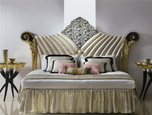 Neo Classic Bedroom Furniture, Innovative Carved and Gold Leaf Overstuffed Bed, Upholstered Bed with Inlay in Middle