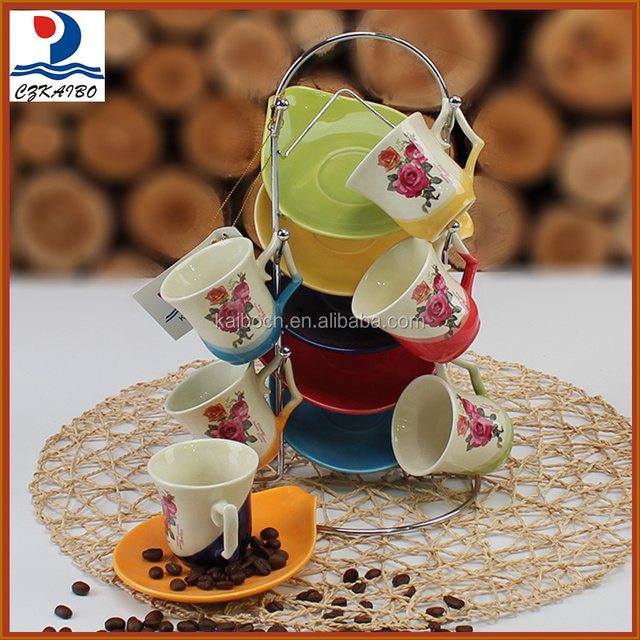 Popular hot products in China porcelain coffee cup with saucer and metal stand