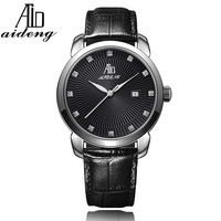 Hot selling stainless steel case genuine leather Japan Movt Diamond Quartz Wrist Fashion men's Vogue Watch