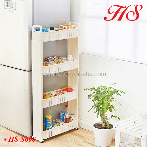 Homeware 4 Layers folding bath kitchen laundry room storage organizer removable plastic shelf with Handle