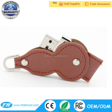 leather and metal usb flash drive gourd shape leather usb 2.0 flash drive