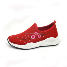 2017 new developed Popular Embroidered Women Sports Shoes with high heel