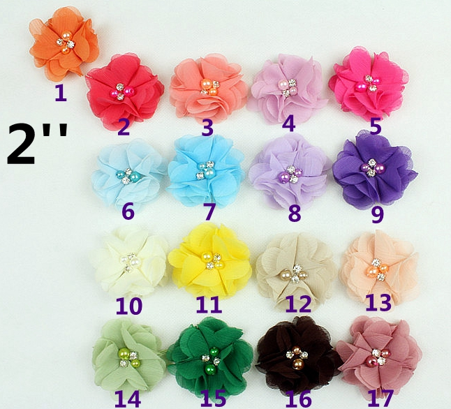 new stock elastic hair tie elastic hairbands beaded chiffon flower hairband