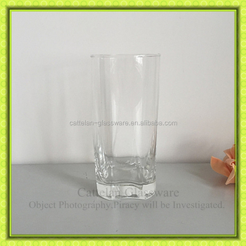 Square thick bottom drinking glass tumbler juice glass high quality machine blown glass cup - Square bottom wine glasses ...