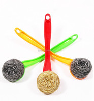stainless steel scourer cleaning ball with long plastic handle