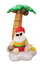 5.5 ft. Inflatable Santa Claus And Palm Tree Tropical Lighted Christmas Yard Art Decoration