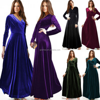 2015 newest comfortable korea autumn long sleeve maxi velvet dresses for women in pakistan/velvet dresses for women 2015