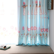 Hot fancy design semi-blackout bay window curtain